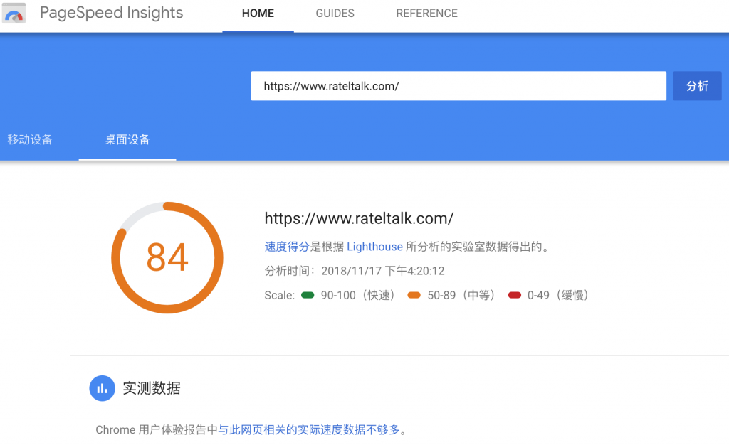 Google PageSpeed Insights 评分